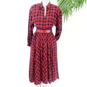 Liz Claiborne Vintage Plaid Dress 6 90's 80's Red